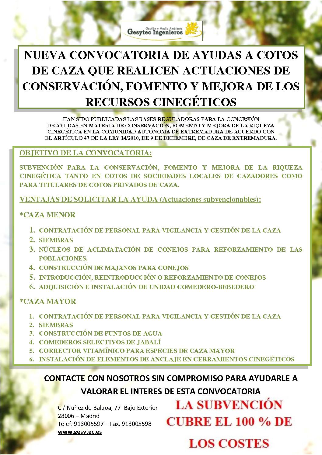 Ayudas a cotos de caza con actuaciones de conservación, fomento y mejora de los recursos cinegéticos en Extremadura